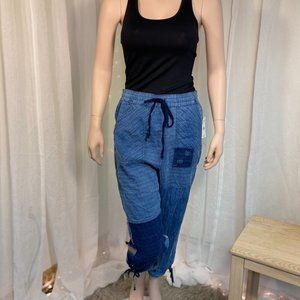 Free People NWT Honey Bee Patched Denim Harem Pant